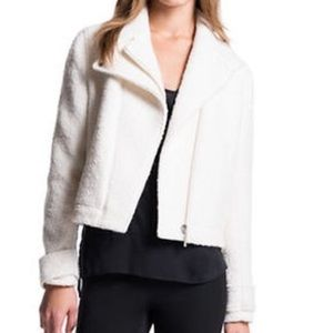 1.State Moto Jacket Wool Blend Off White Boucle O